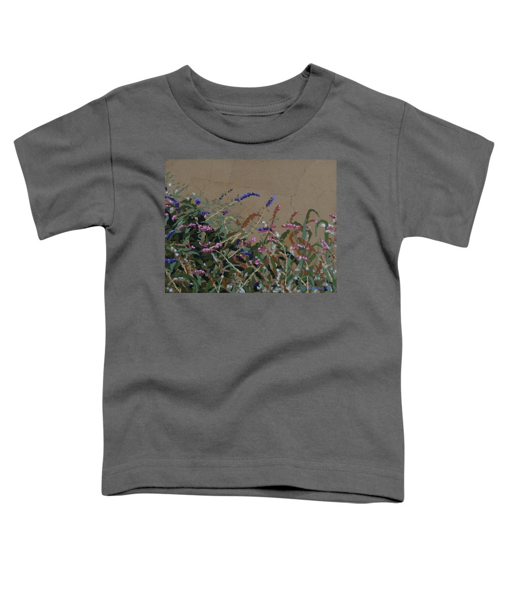 Flowering Butterfly Bush Toddler T-Shirt featuring the painting Tyler by Leah Tomaino