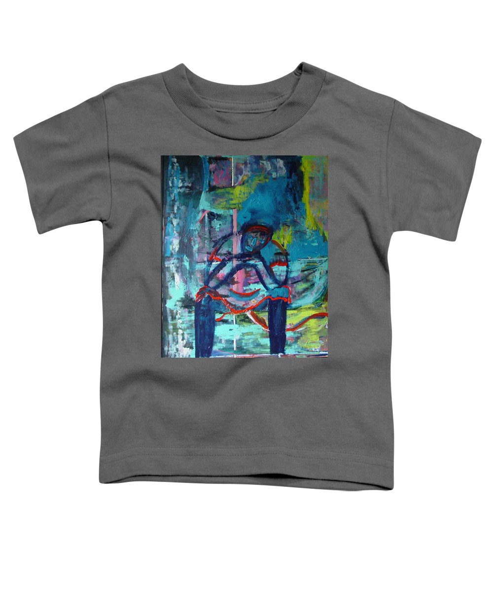 Woman On Bench Toddler T-Shirt featuring the painting Waiting by Peggy Blood