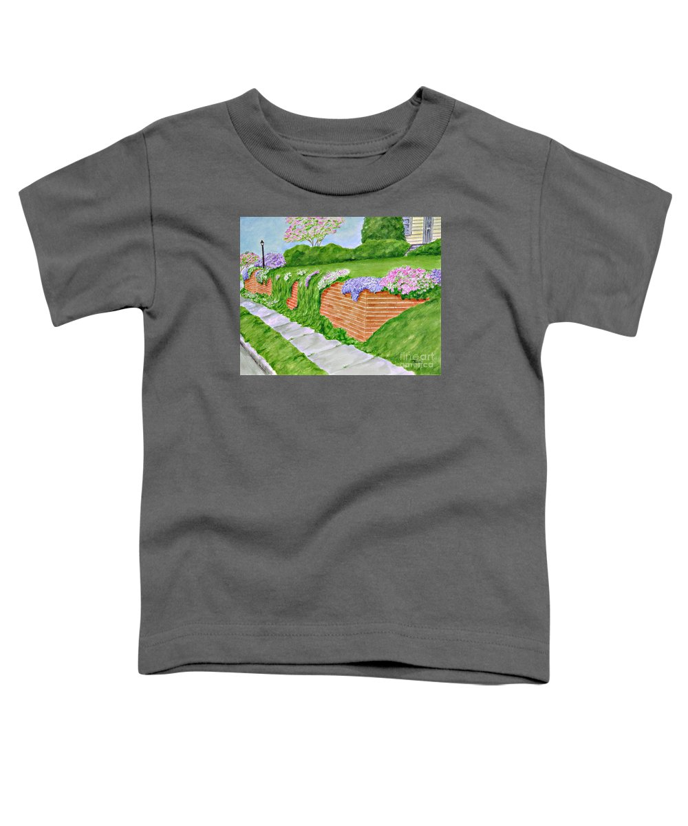 Landscape Toddler T-Shirt featuring the painting Wall Of Flowers by Regan J Smith