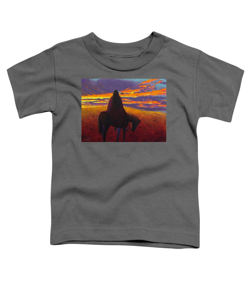 Native American Indian Toddler T-Shirt featuring the painting Watching The Magic by Joe Triano