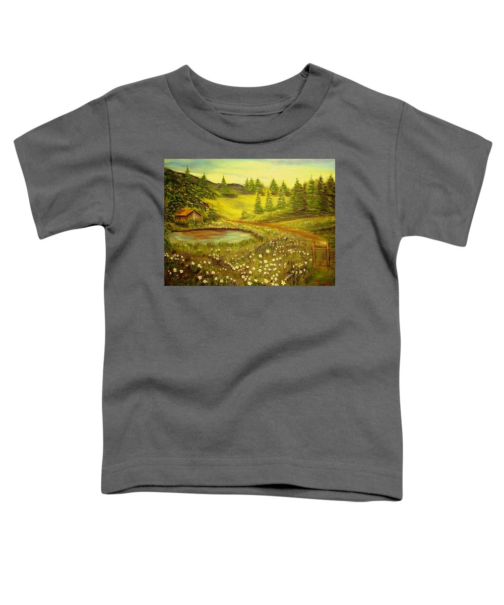 Landscape Toddler T-Shirt featuring the painting Water Pond by Kenneth LePoidevin