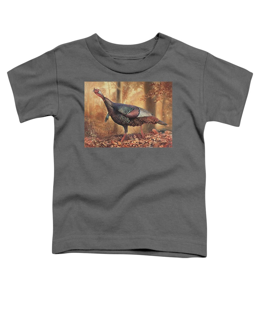 Wild Turkey Toddler T-Shirt featuring the painting Wild Turkey by Hans Droog