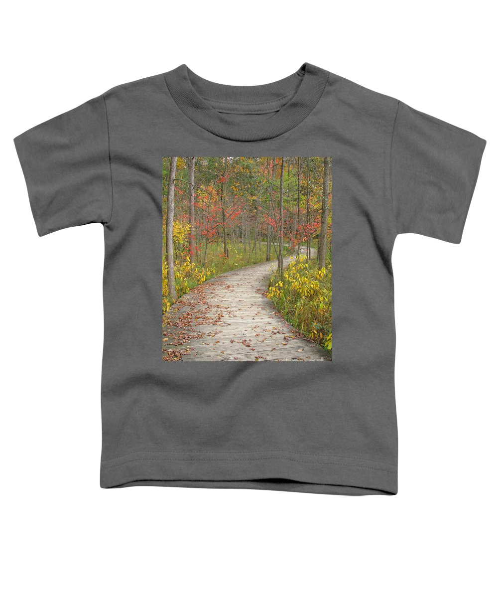 Autumn Toddler T-Shirt featuring the photograph Winding Woods Walk by Ann Horn