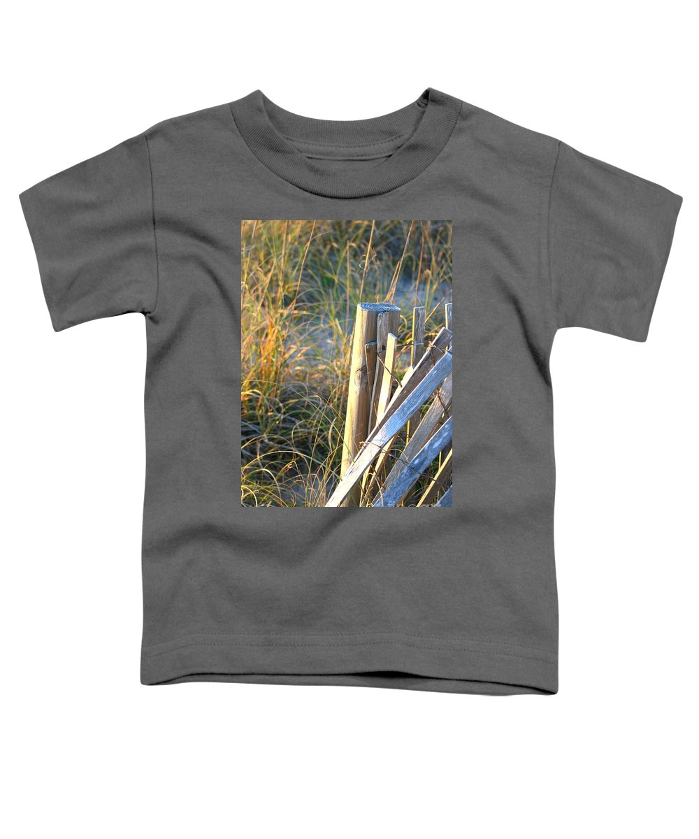 Post Toddler T-Shirt featuring the photograph Wooden Post And Fence At The Beach by Nadine Rippelmeyer