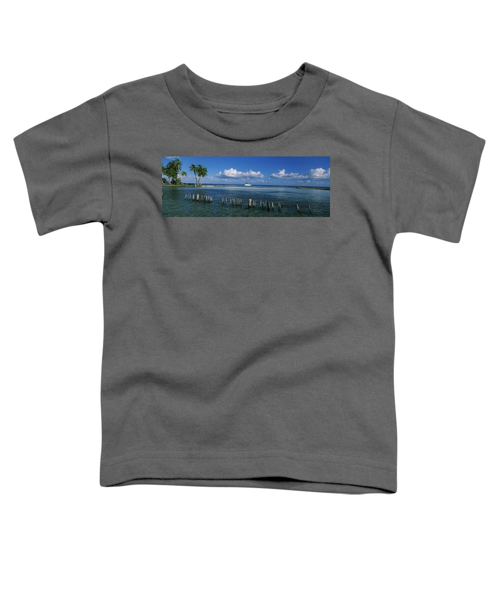 Photography Toddler T-Shirt featuring the photograph Wooden Posts In The Sea With A Boat by Panoramic Images