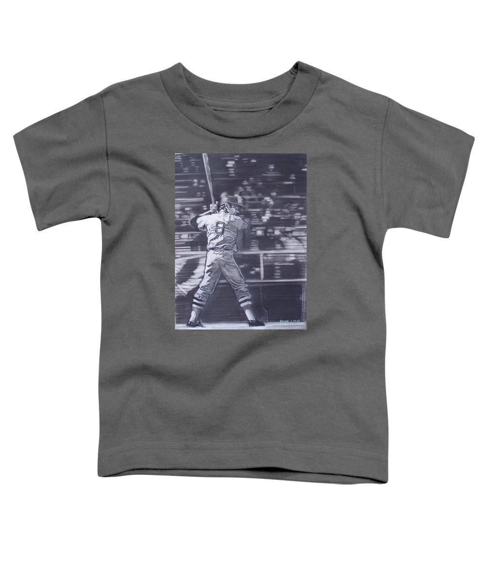 Charcoal Toddler T-Shirt featuring the drawing Yaz - Carl Yastrzemski by Sean Connolly