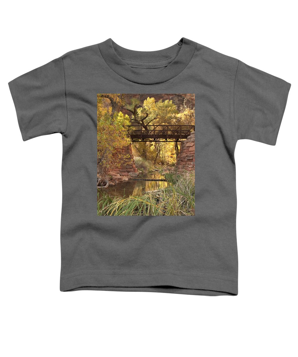 3scape Photos Toddler T-Shirt featuring the photograph Zion Bridge by Adam Romanowicz