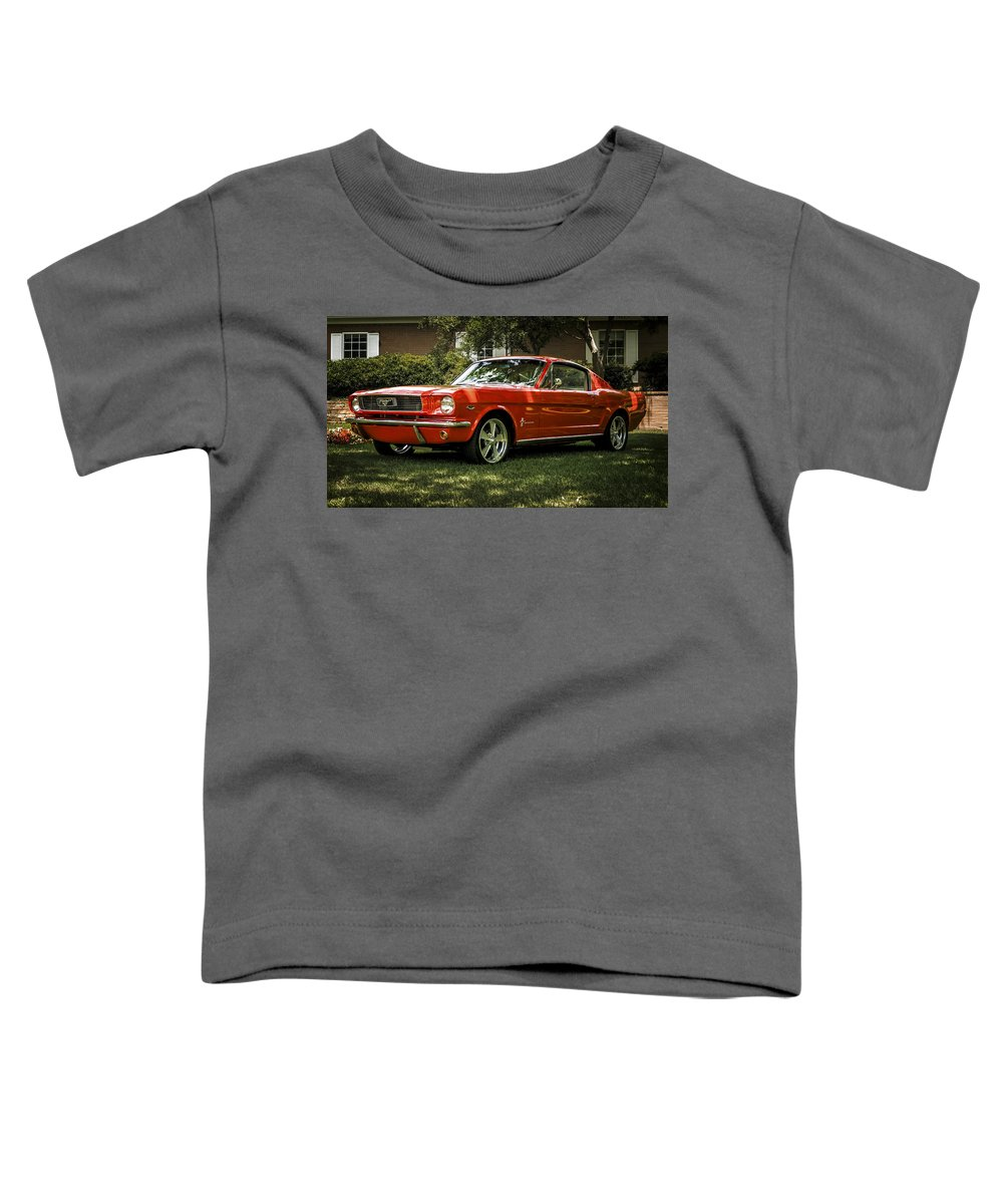 Mustang Toddler T-Shirt featuring the digital art '66 Mustang by Douglas Pittman