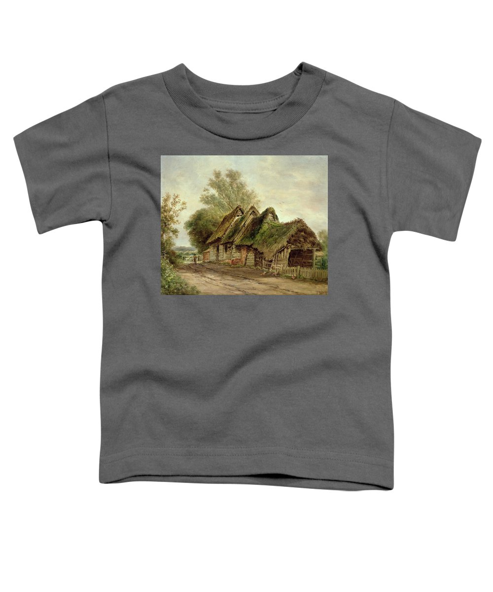 Barn; Rural; Fence; Thatched Roof Toddler T-Shirt featuring the painting Barns At Flatford by John Moore of Ipswich