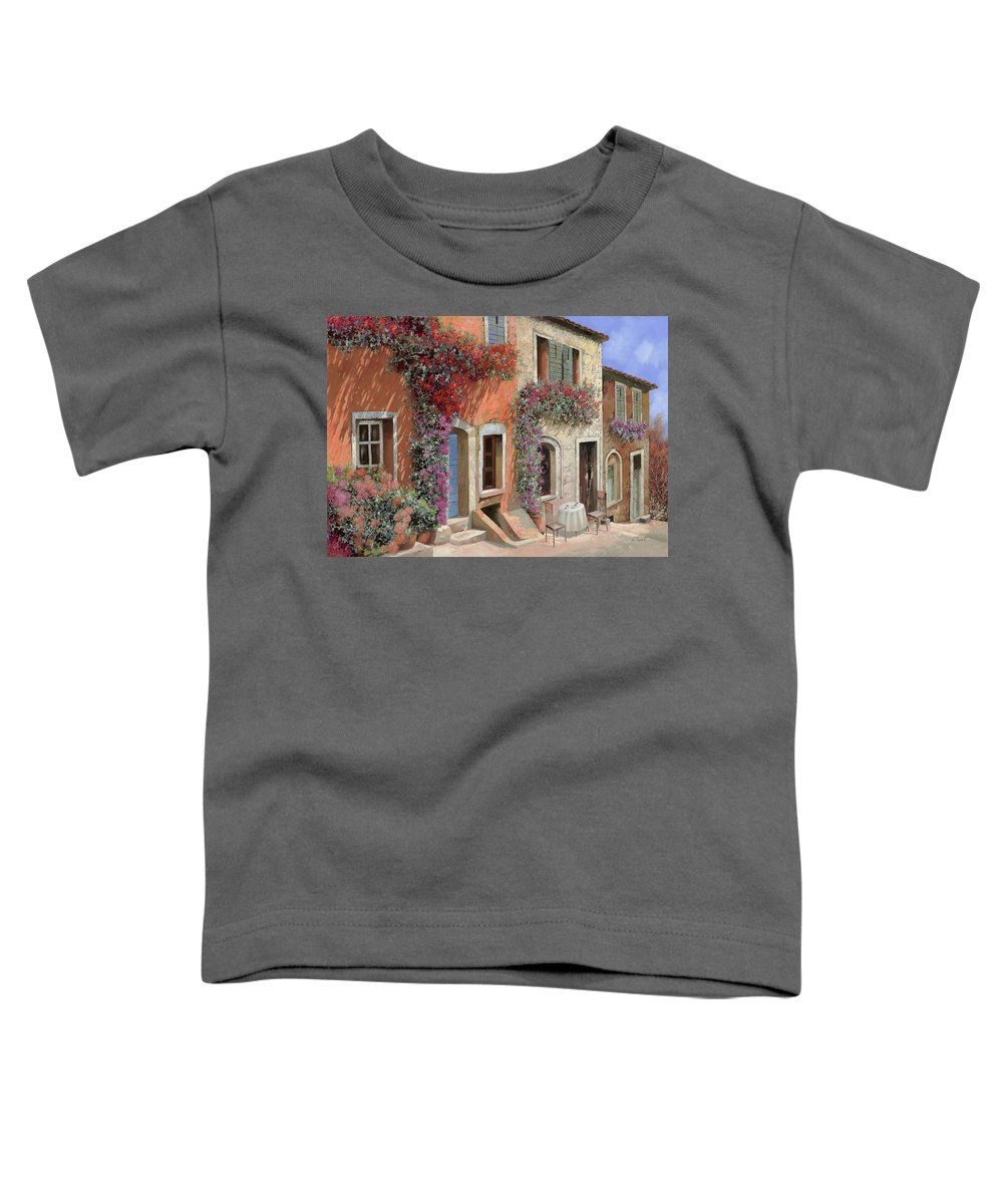 Caffe Toddler T-Shirt featuring the painting Caffe Sulla Discesa by Guido Borelli