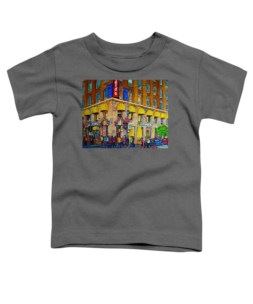 Mcdonald Restaurant Montreal Toddler T-Shirt featuring the painting Mcdonald by Carole Spandau