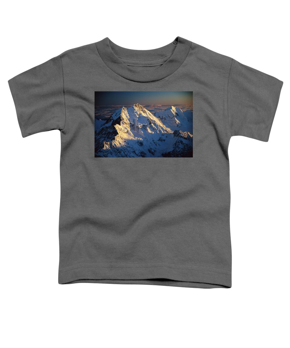 Aerial View Toddler T-Shirt featuring the photograph Mt Cook Or Aoraki And Mt Tasman, Aerial by Colin Monteath