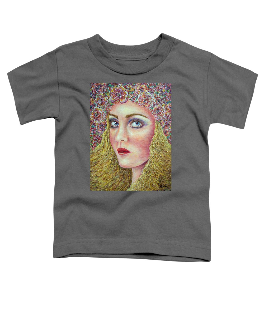 Woman Toddler T-Shirt featuring the painting  The Flower Girl by Natalie Holland