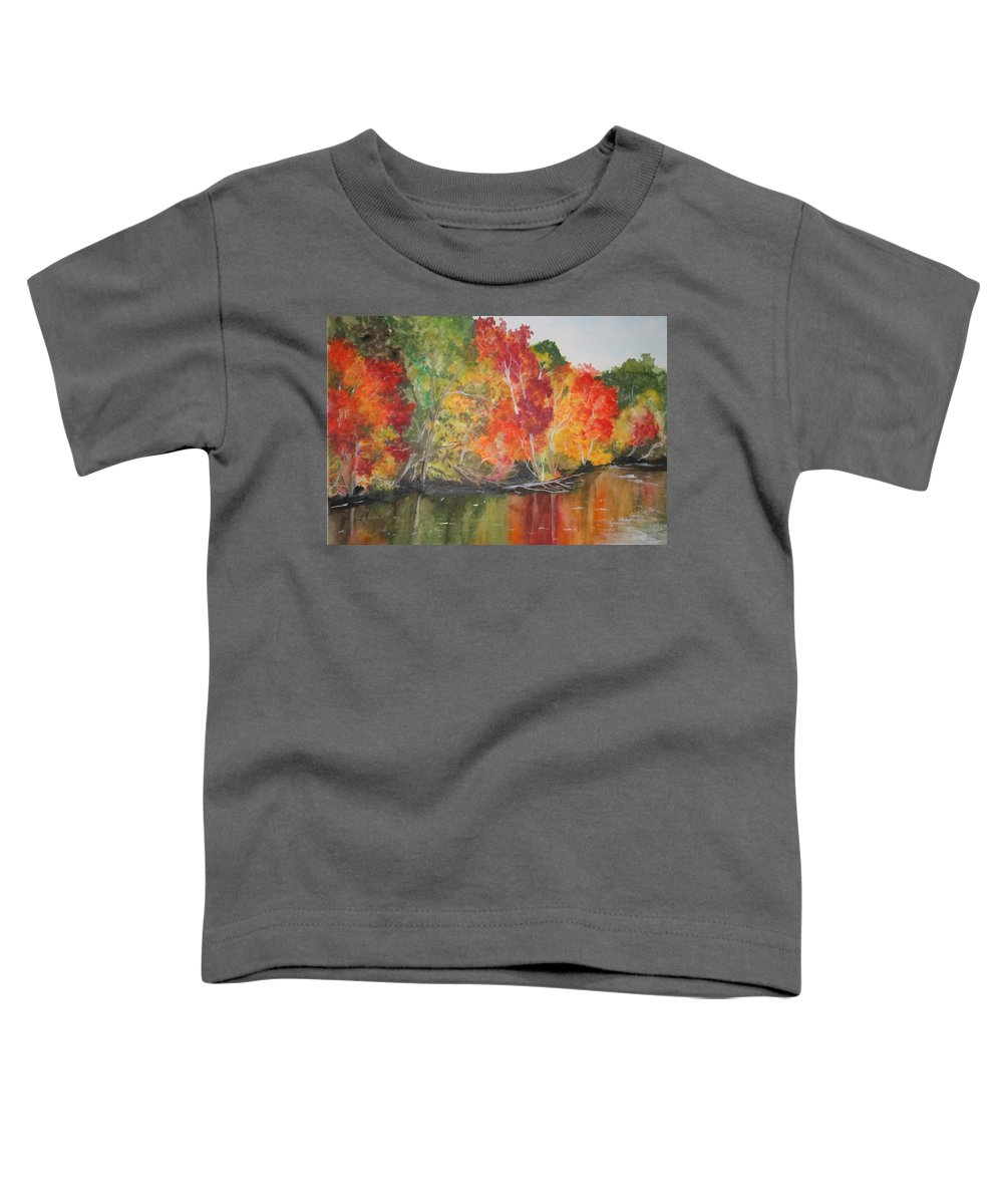 Autumn Toddler T-Shirt featuring the painting Autumn Splendor by Jean Blackmer