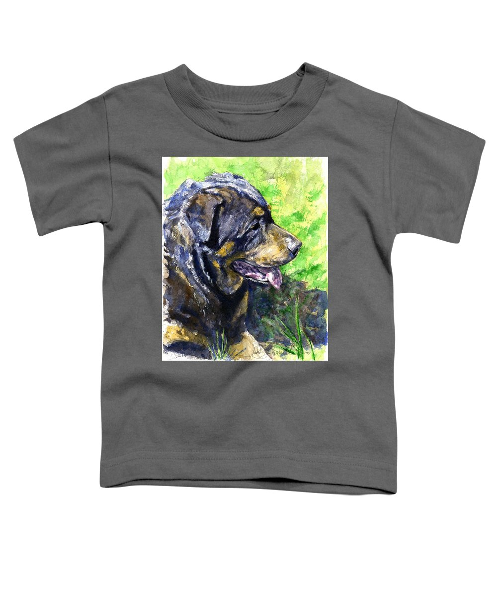 Rottweiler Toddler T-Shirt featuring the painting Chaos by John D Benson