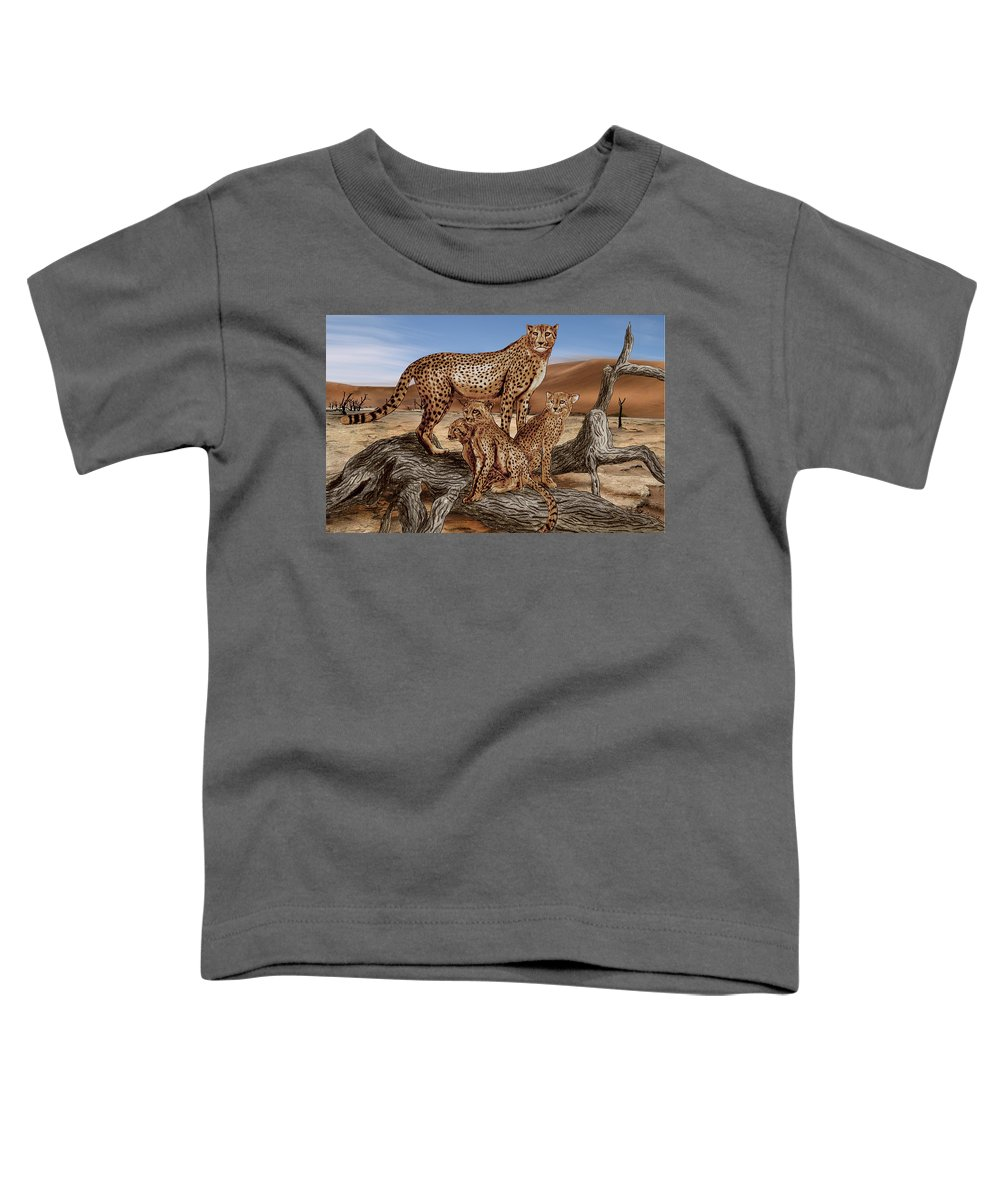 Cheetah Family Tree Toddler T-Shirt featuring the drawing Cheetah Family Tree by Peter Piatt