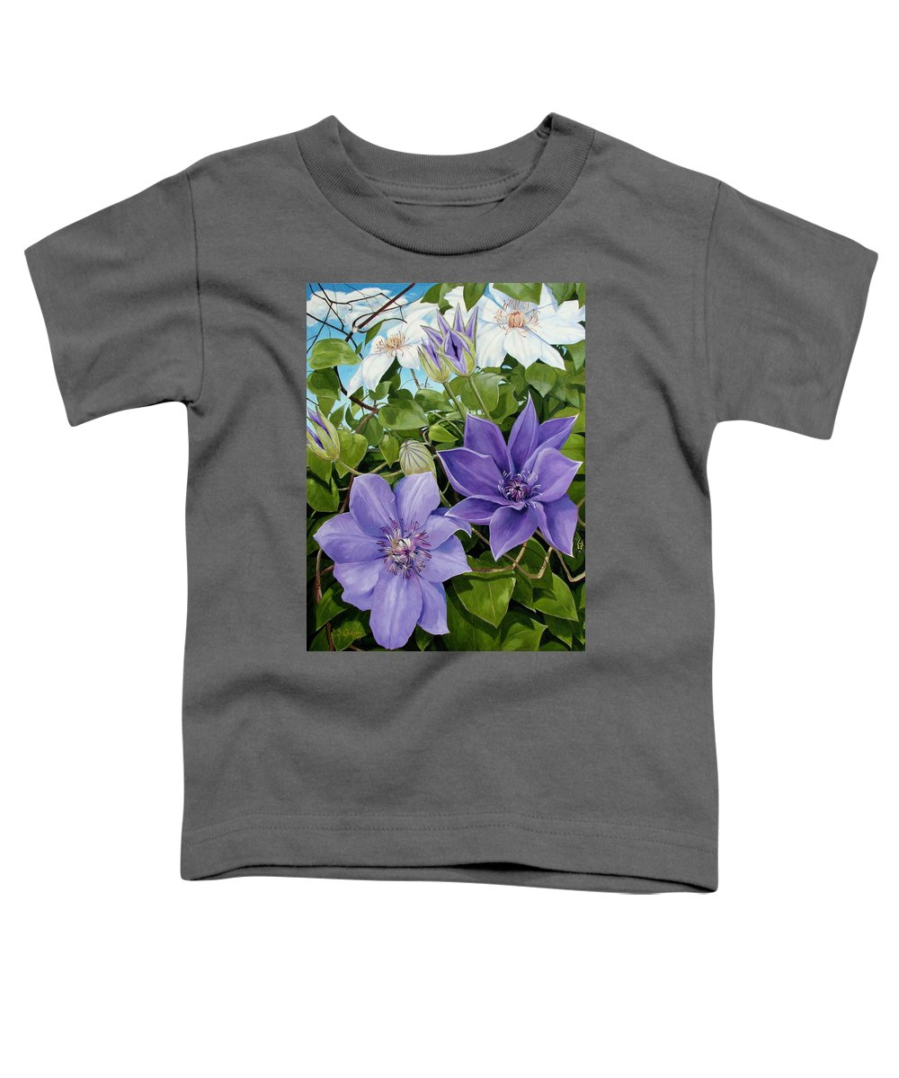 Clematis Toddler T-Shirt featuring the painting Clematis 2 by Jerrold Carton