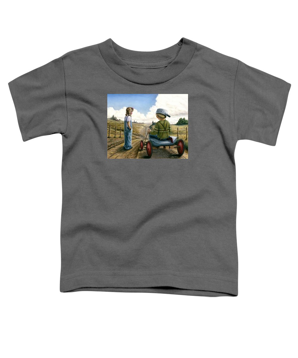 Children Playing Toddler T-Shirt featuring the painting Down Hill Racer by Lance Anderson