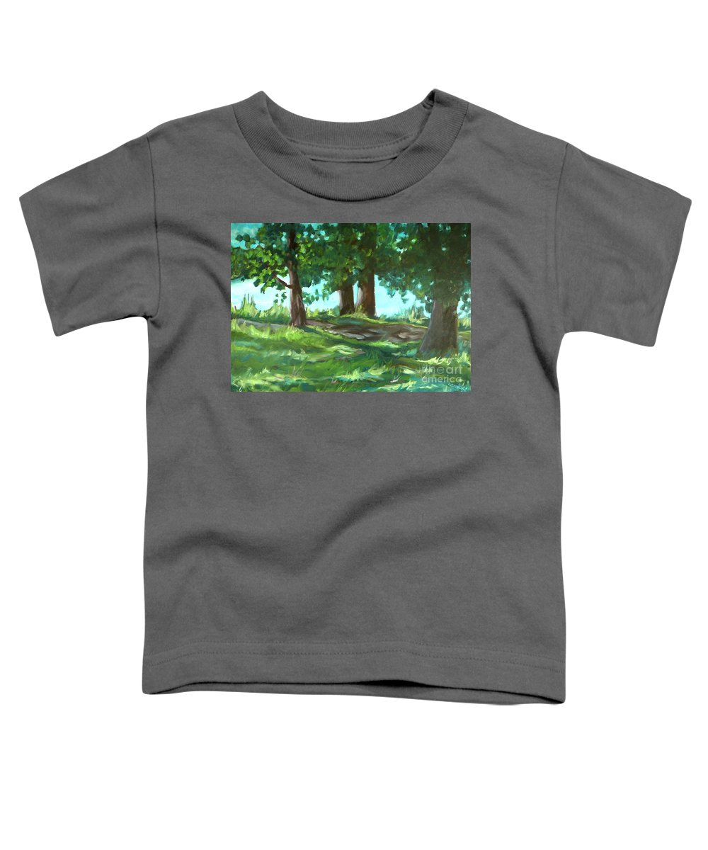 Expressionist Landscape Toddler T-Shirt featuring the painting Dreaming On Fellows Lake by Jan Bennicoff