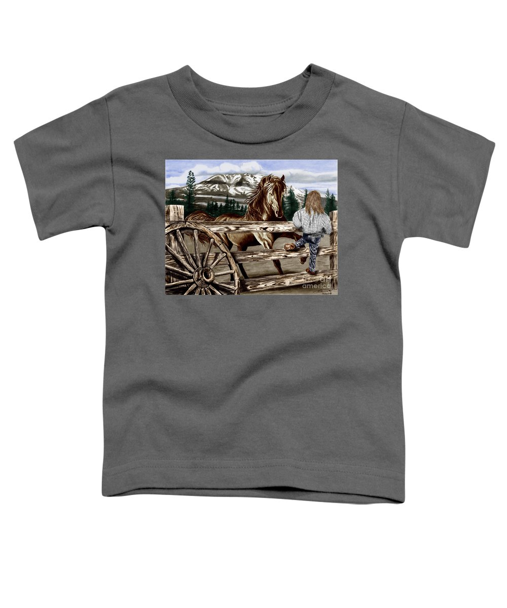 Hello Girl Toddler T-Shirt featuring the drawing Hello Girl by Peter Piatt