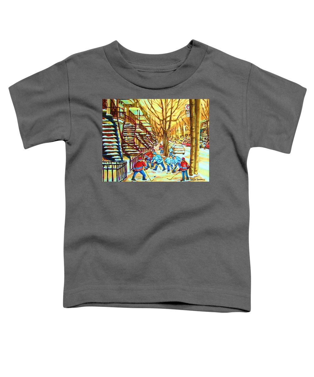 Montreal Toddler T-Shirt featuring the painting Hockey Game Near Winding Staircases by Carole Spandau