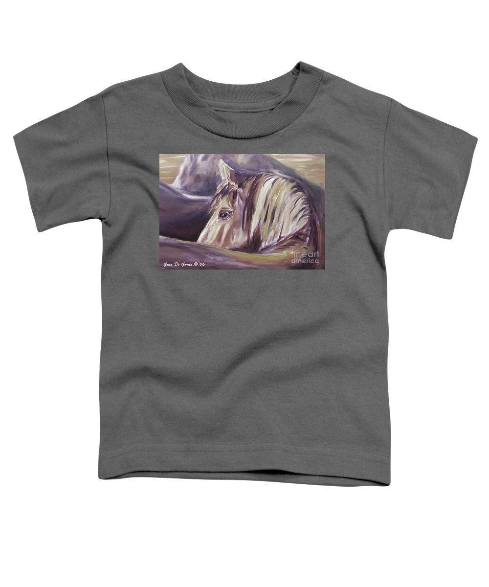Brown Toddler T-Shirt featuring the painting Horse World Detail by Gina De Gorna