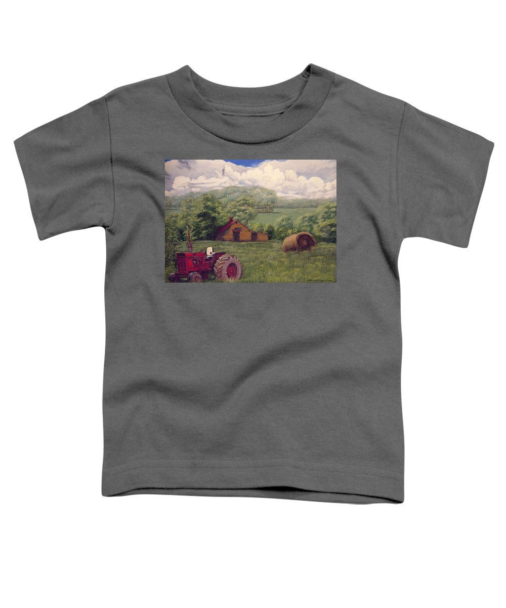 Landscape Toddler T-Shirt featuring the painting Idle In Godfrey Georgia by Peter Muzyka