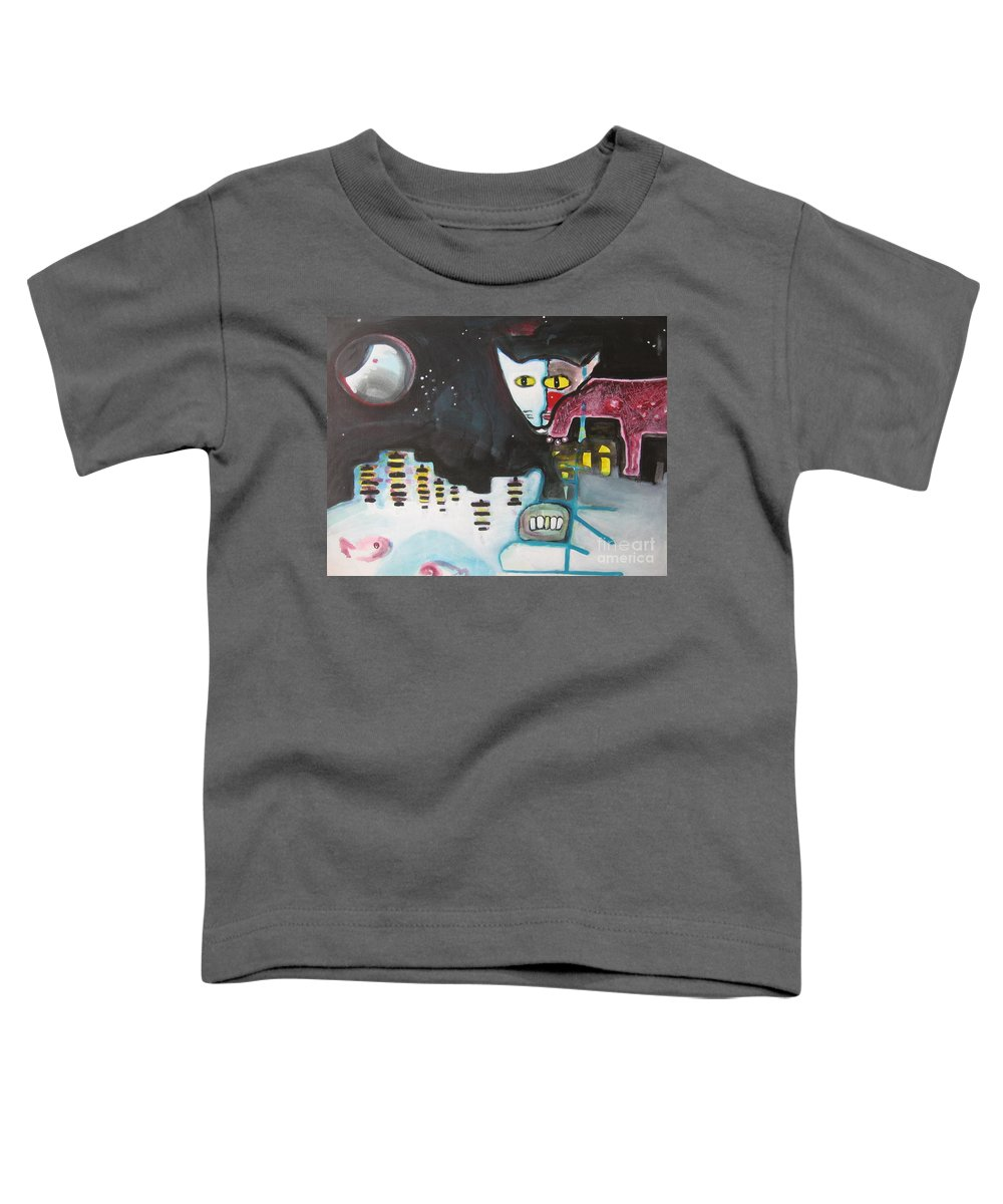 Cat Paintings Toddler T-Shirt featuring the painting Let Me Out3 by Seon-Jeong Kim
