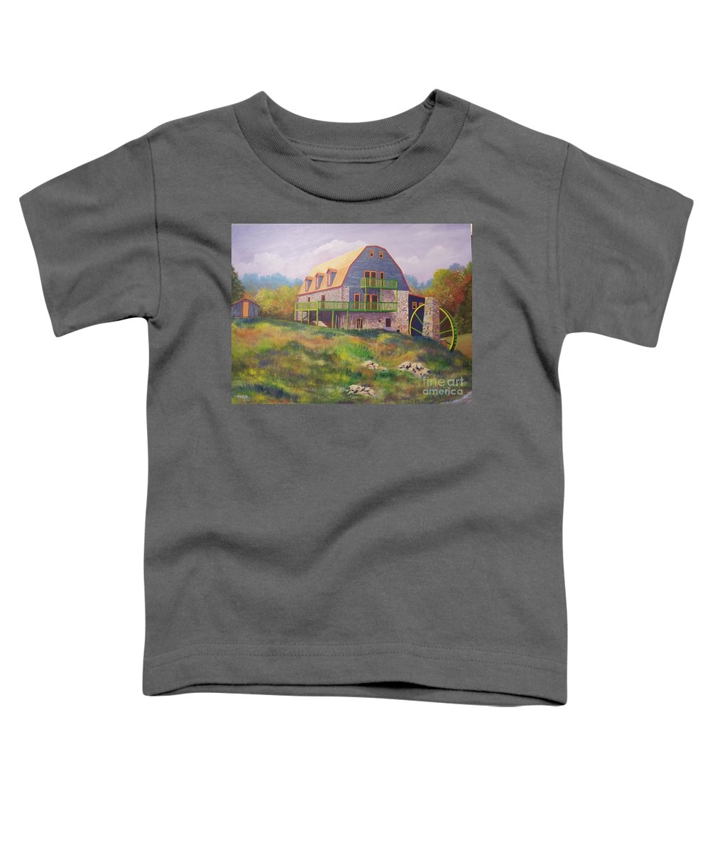 Mill Toddler T-Shirt featuring the painting Mountain Mill by Hugh Harris