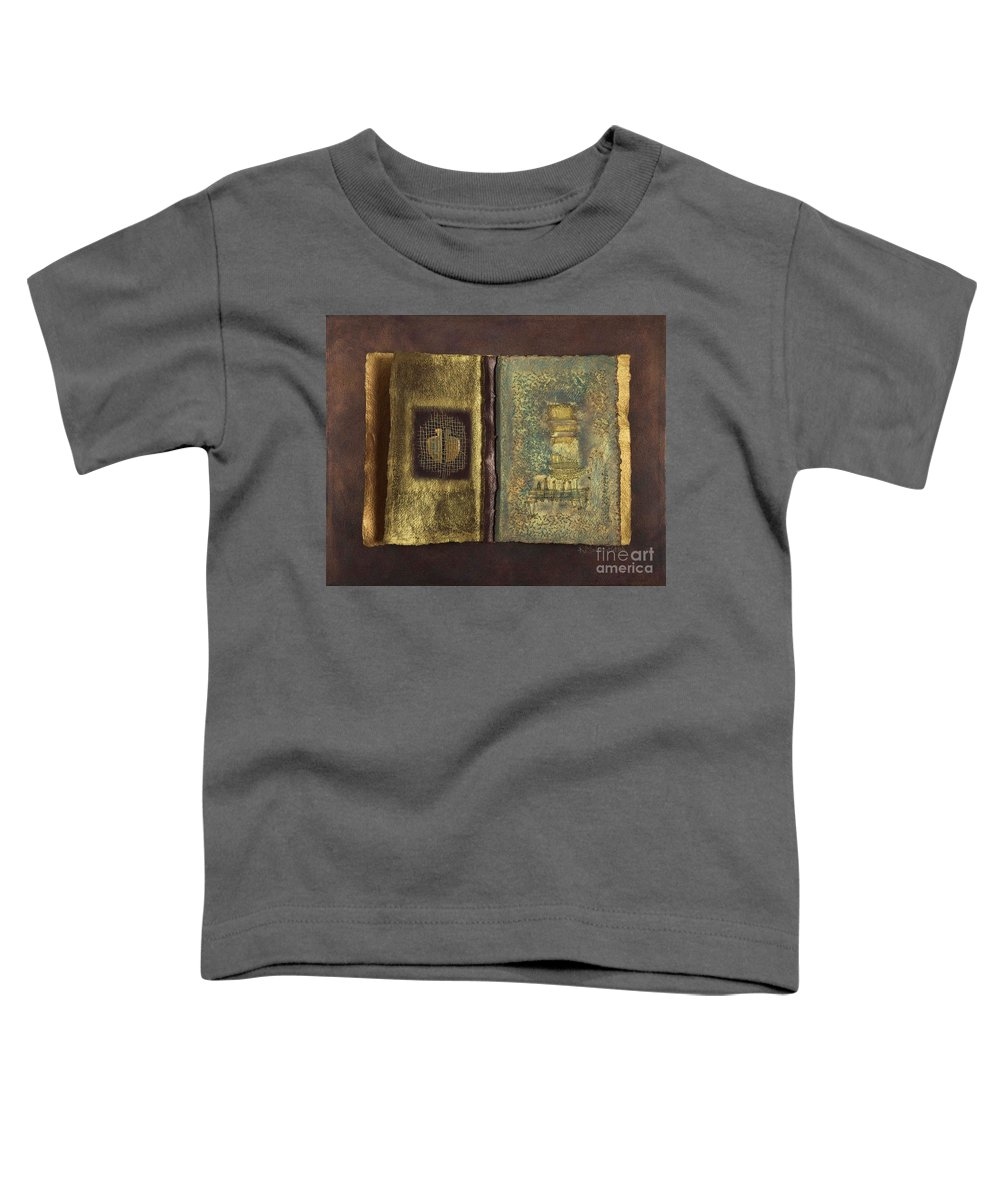 Artist-book Toddler T-Shirt featuring the mixed media Page Format No 1 Transitional Series by Kerryn Madsen-Pietsch