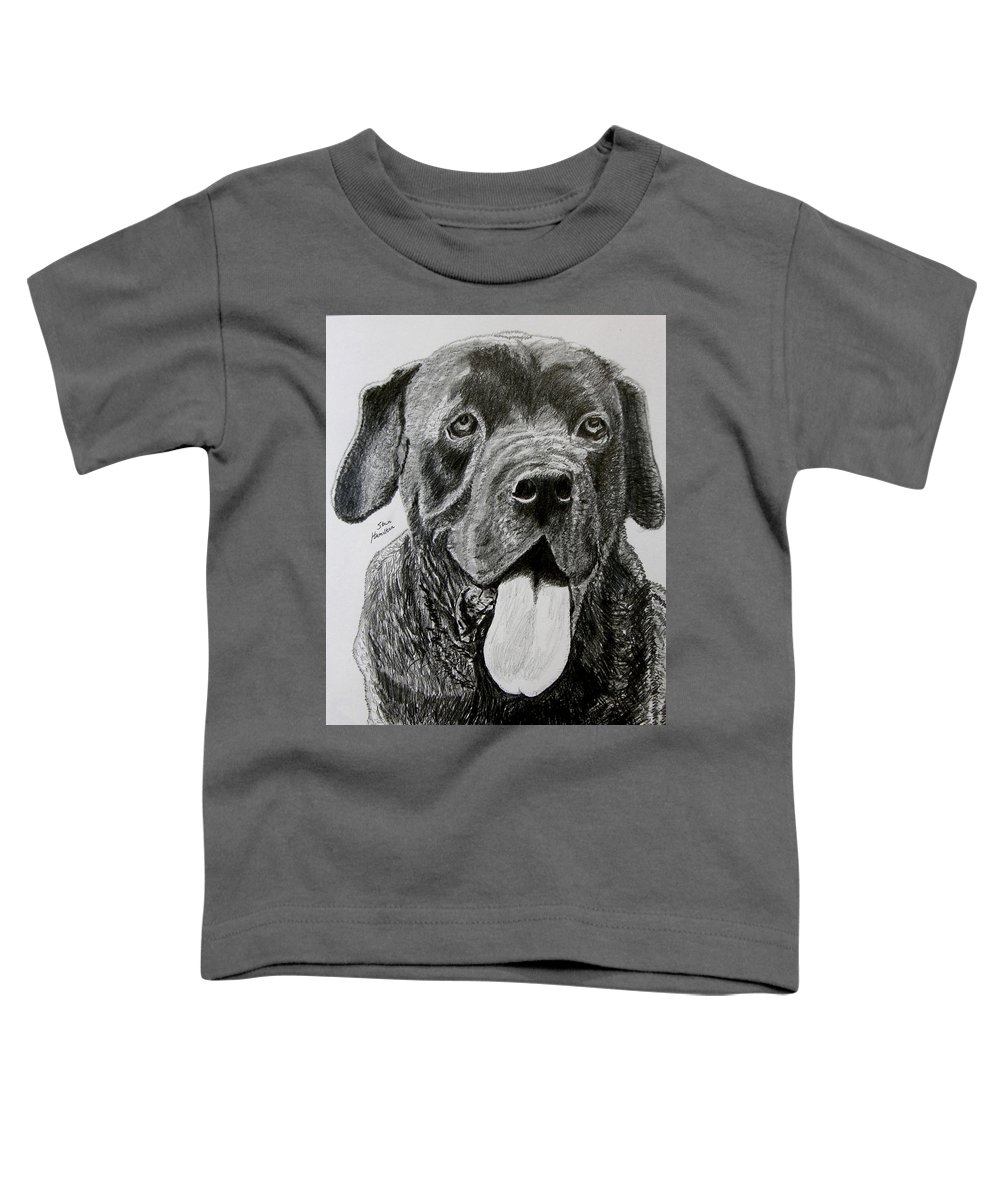 Dog Portrait Toddler T-Shirt featuring the drawing Sampson by Stan Hamilton