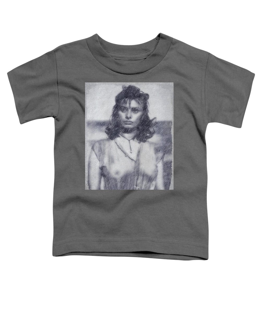 Hollywood Toddler T-Shirt featuring the drawing Sophia Loren by John Springfield
