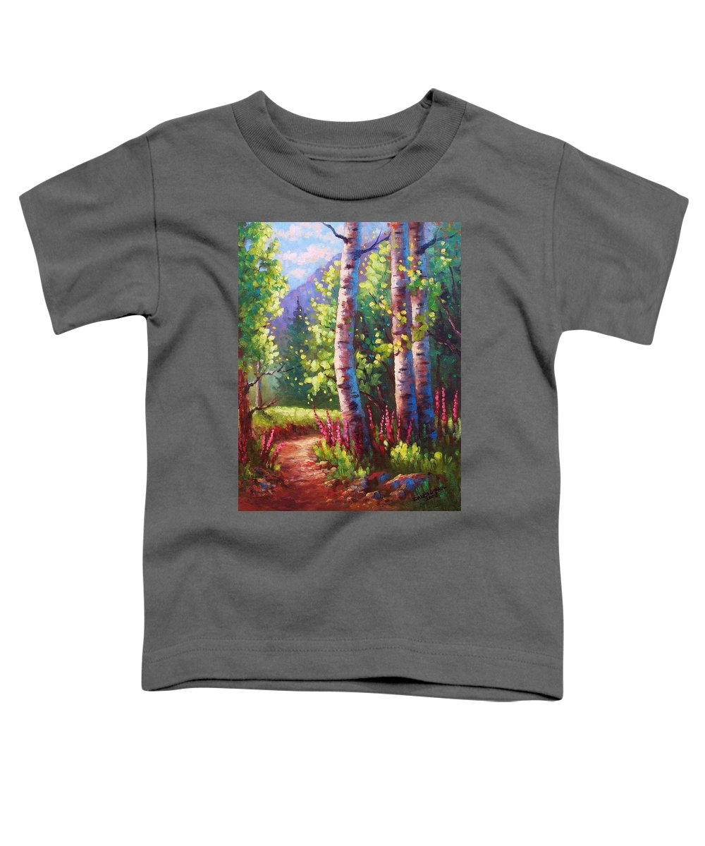 Aspen Toddler T-Shirt featuring the painting Spring Path by David G Paul