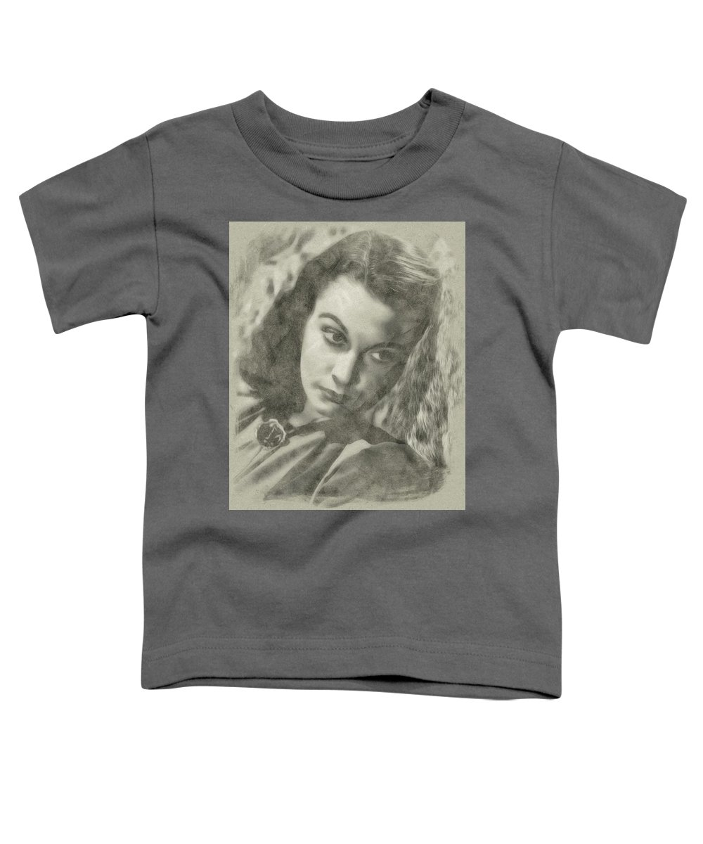 Hollywood Toddler T-Shirt featuring the drawing Vivien Leigh by John Springfield