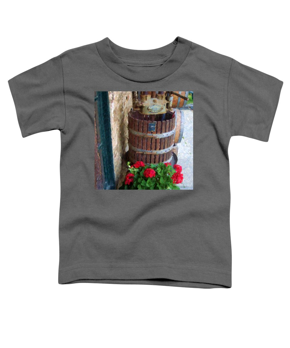 Geraniums Toddler T-Shirt featuring the photograph Wine And Geraniums by Debbi Granruth