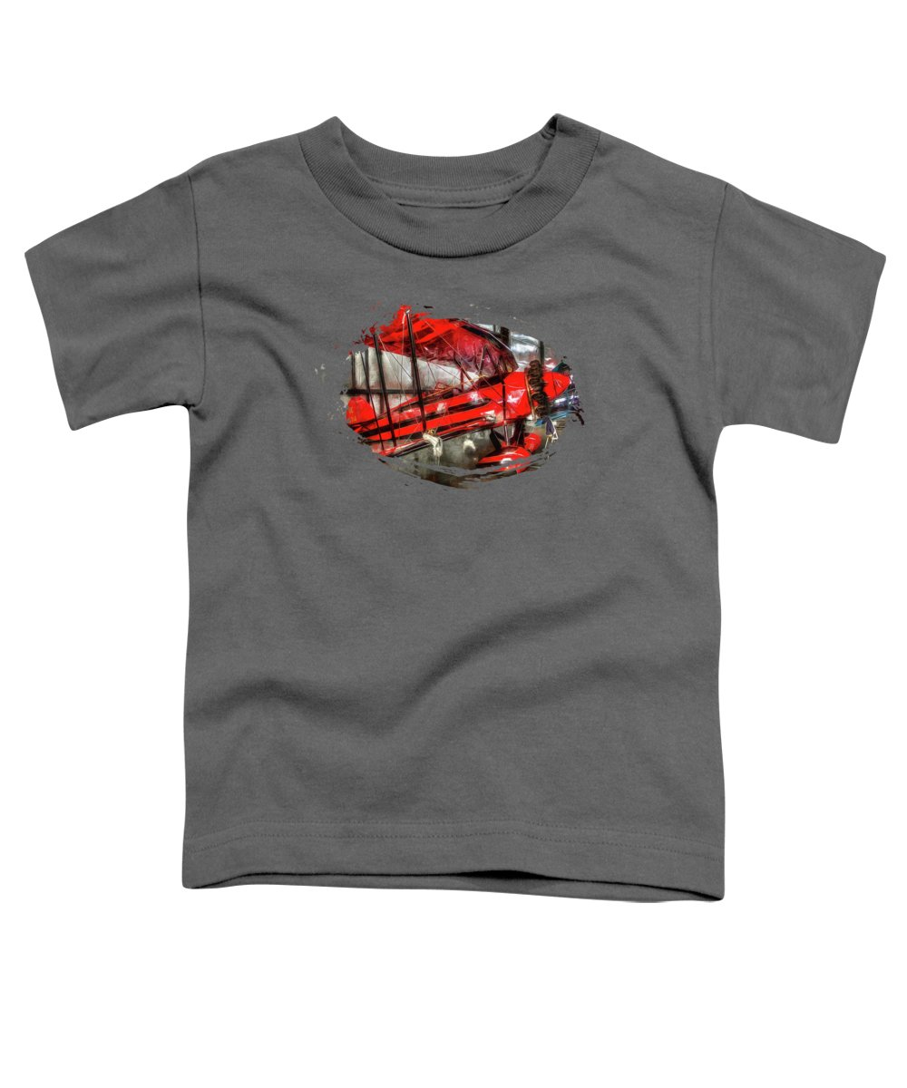 Hdr Toddler T-Shirt featuring the photograph 1928 Waco Biplane by Thom Zehrfeld