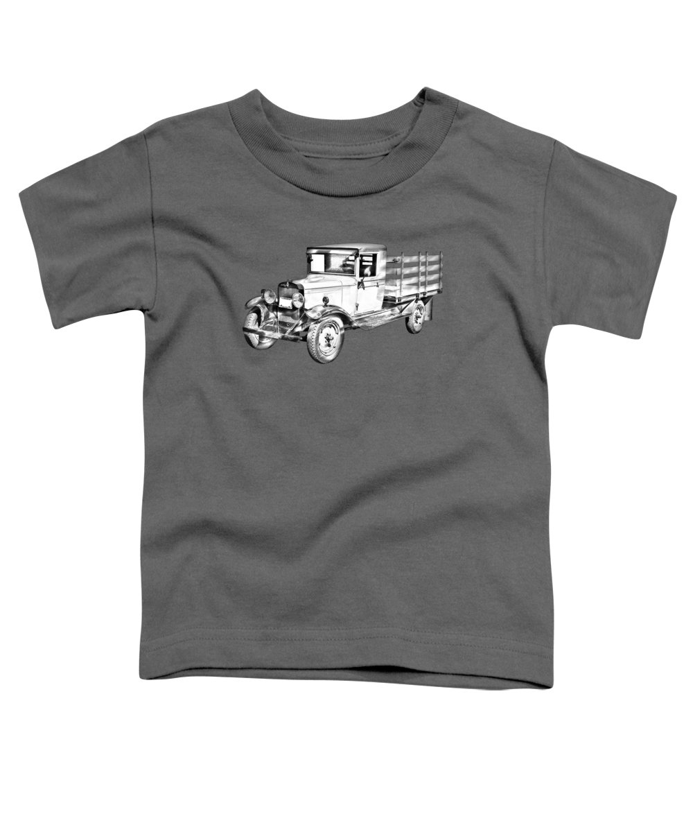 1929 Toddler T-Shirt featuring the photograph 1929 Chevy Truck 1 Ton Stake Body Drawing by Keith Webber Jr