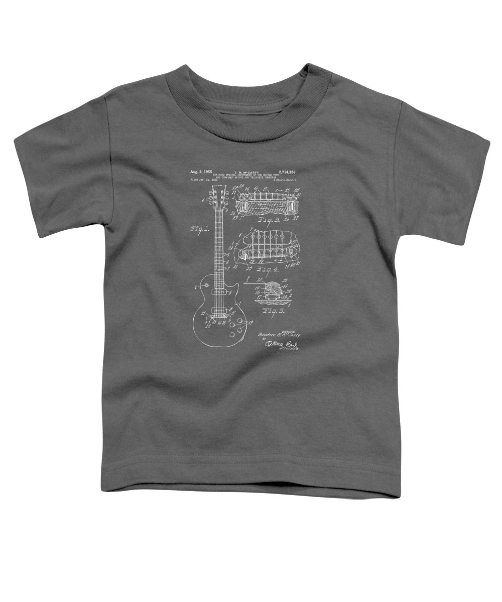 Guitar Toddler T-Shirt featuring the digital art 1955 Mccarty Gibson Les Paul Guitar Patent Artwork - Gray by Nikki Marie Smith