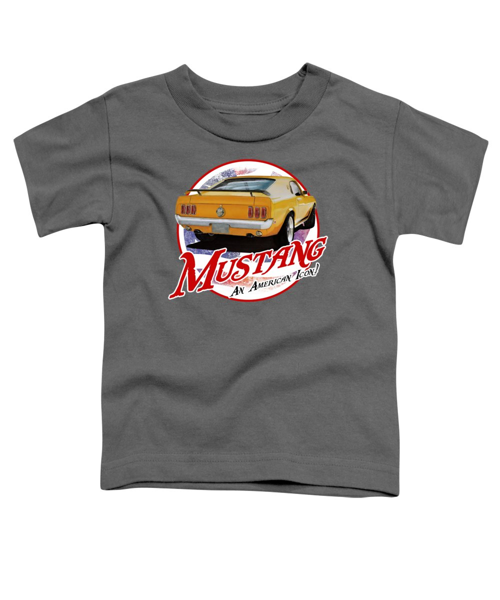 1970 Toddler T-Shirt featuring the digital art 1970 Yellow Mustang by Paul Kuras