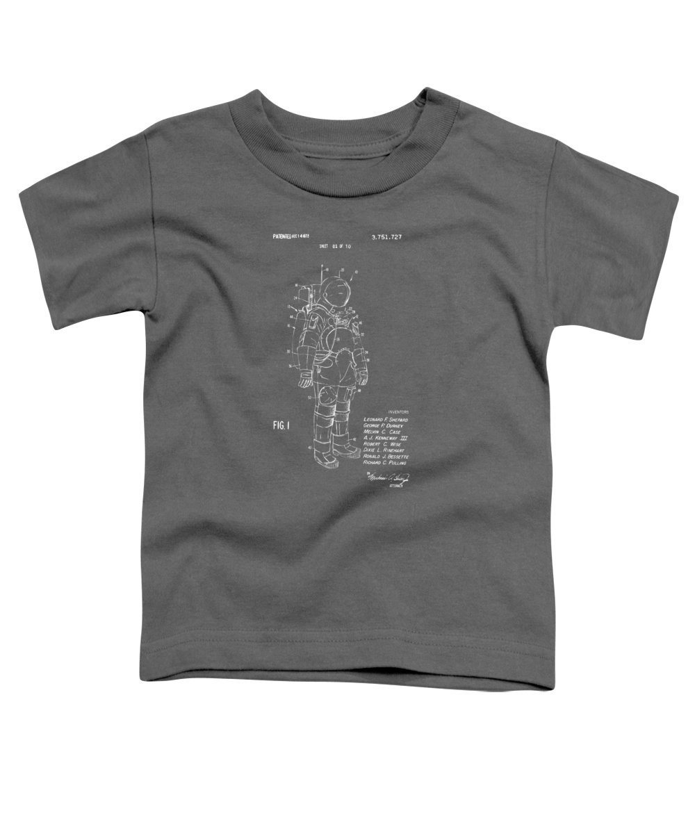 Space Suit Toddler T-Shirt featuring the digital art 1973 Space Suit Patent Inventors Artwork - Gray by Nikki Marie Smith