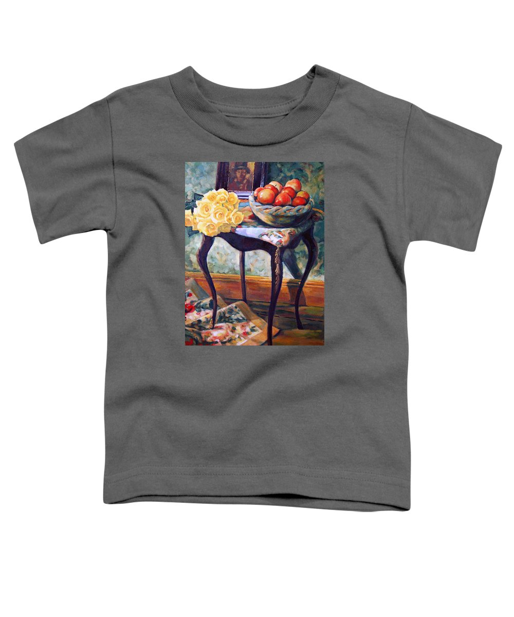 Still Life Toddler T-Shirt featuring the painting Still Life With Roses by Iliyan Bozhanov