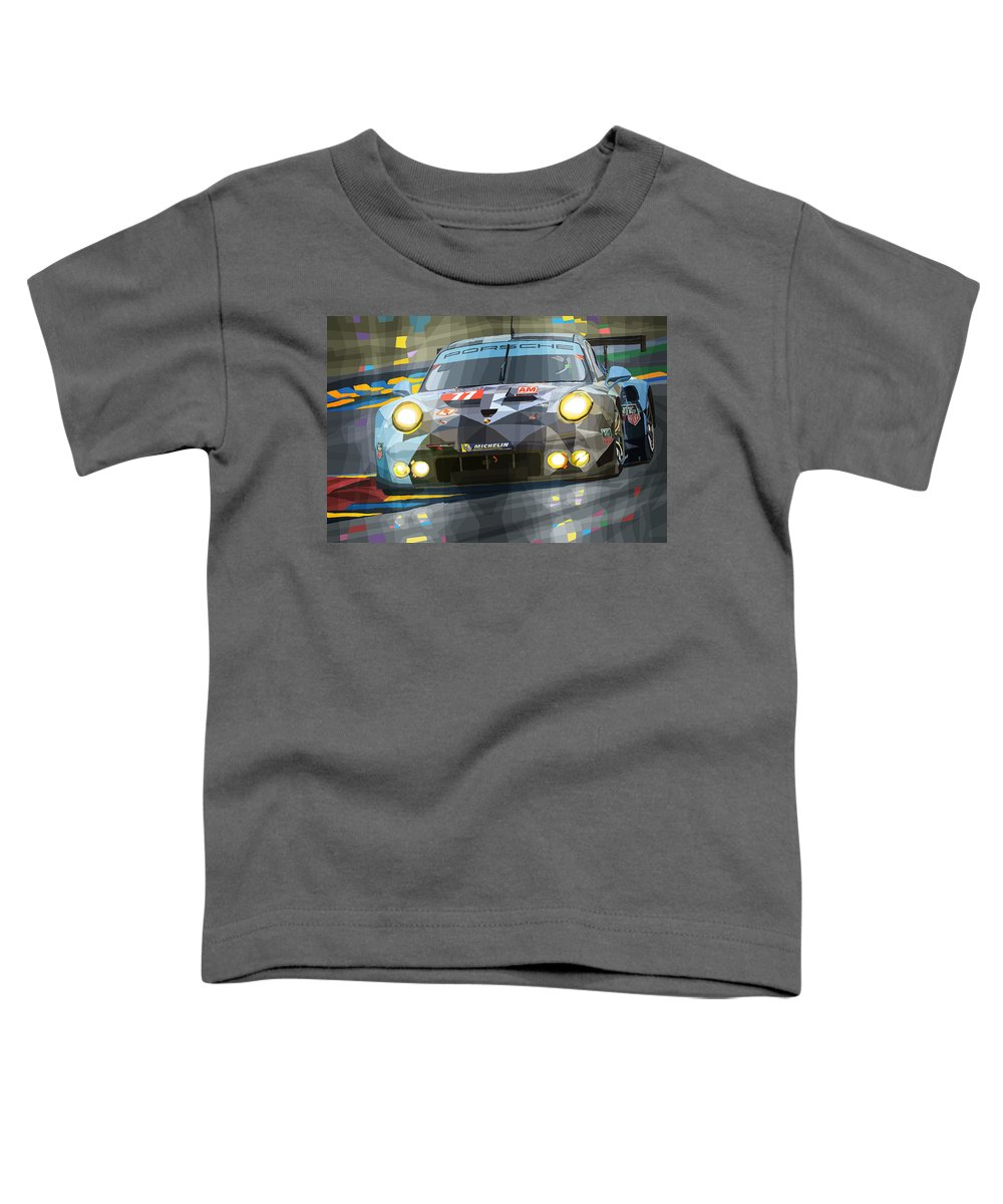 Automotive Toddler T-Shirt featuring the digital art 2015 Le Mans Gte-am Porsche 911 Rsr by Yuriy Shevchuk