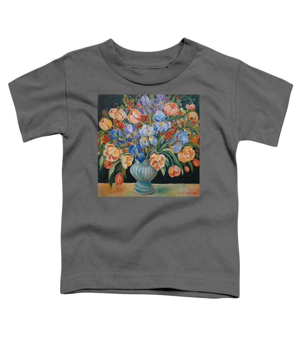 Still Life Toddler T-Shirt featuring the painting Tulips by Alexandra Maria Ethlyn Cheshire