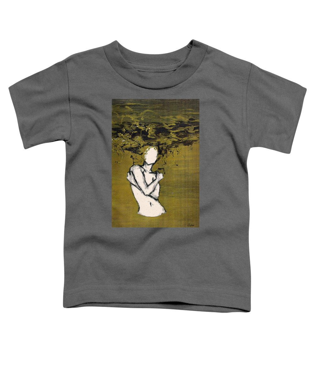 Gold Woman Hair Bath Nude Toddler T-Shirt featuring the mixed media Untitled by Veronica Jackson