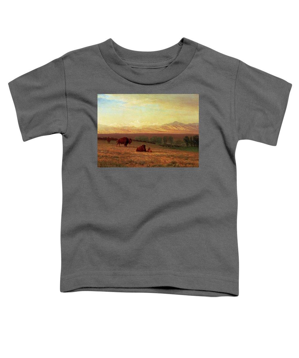 Albert Bierstadt Toddler T-Shirt featuring the painting Buffalo On The Plains by Albert Bierstadt