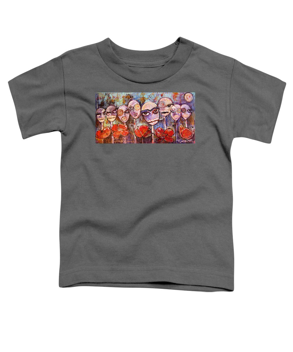 Dia De Los Muertos Toddler T-Shirt featuring the painting 5 Poppies For The Dead by Laurie Maves ART