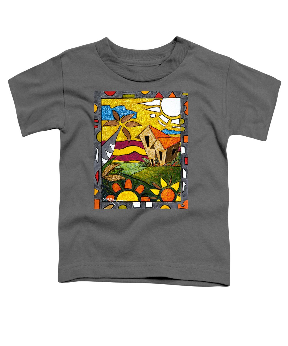 Puerto Rico Toddler T-Shirt featuring the painting A Beautiful Day by Oscar Ortiz