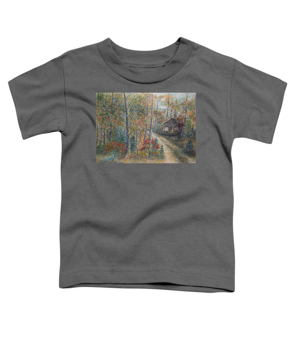 Country Road; Old House; Trees Toddler T-Shirt featuring the painting A Bend In The Road by Ben Kiger