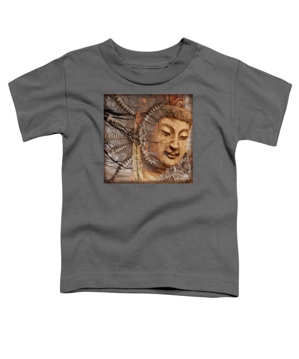 Guan Yin Toddler T-Shirt featuring the digital art A Cry Is Heard by Christopher Beikmann