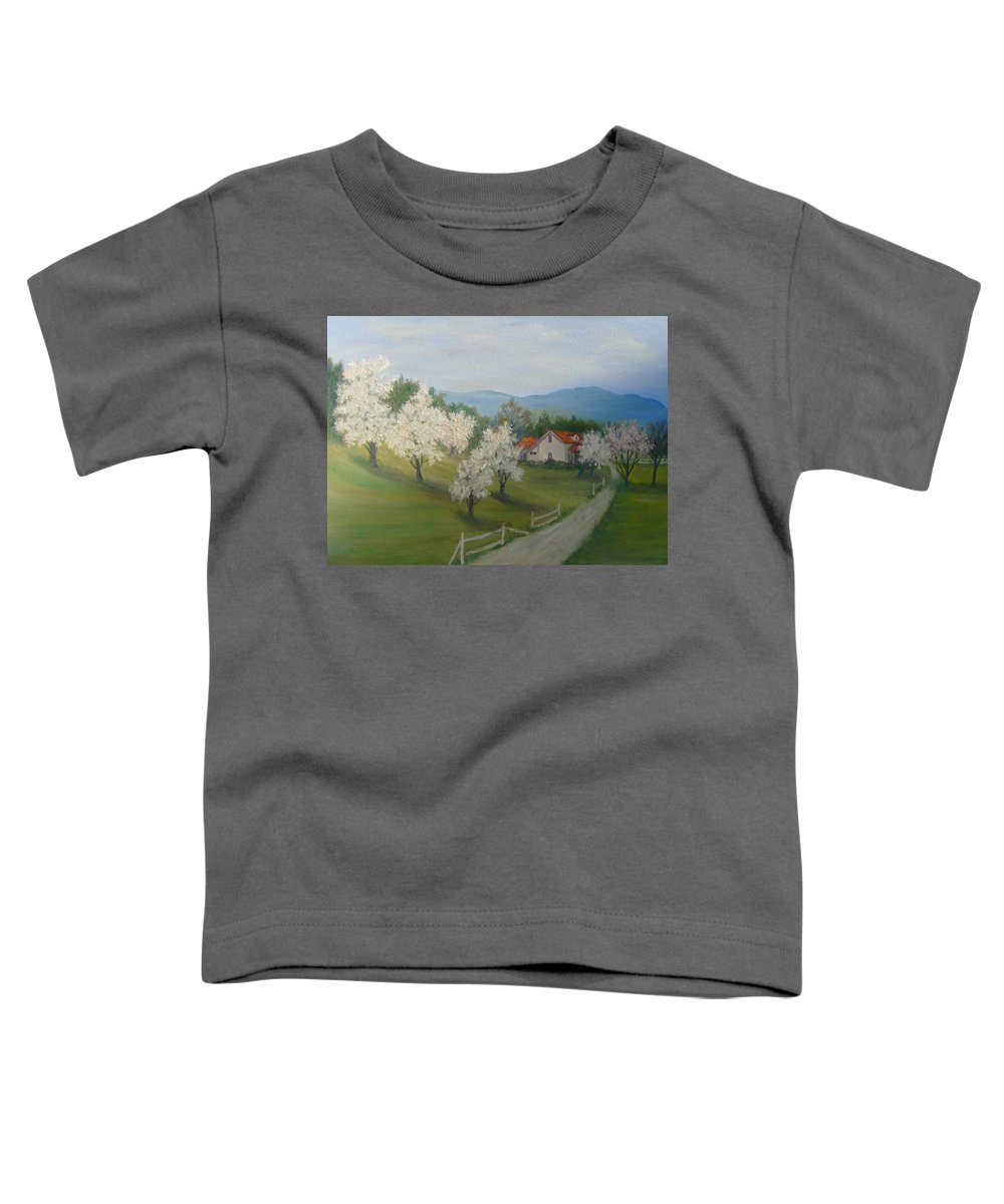 Landscape; Spring; Mountains; Country Road; House Toddler T-Shirt featuring the painting A Day In The Country by Ben Kiger